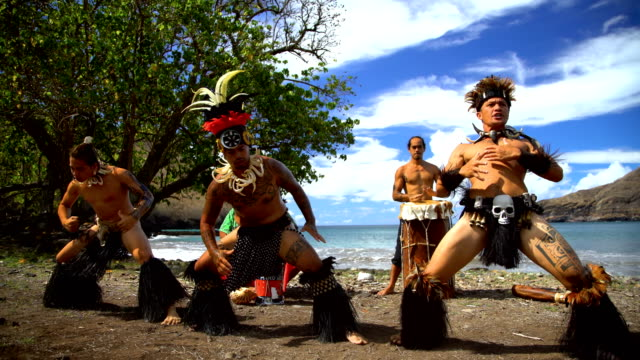 marquesas native dancers playing instruments performing nuku hiva - tahitian culture stock videos and b-roll footage