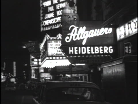 vídeos de stock, filmes e b-roll de marquis from the outside of 1959 chicago clubs and theatres - music or celebrities or fashion or film industry or film premiere or youth culture or novelty item or vacations