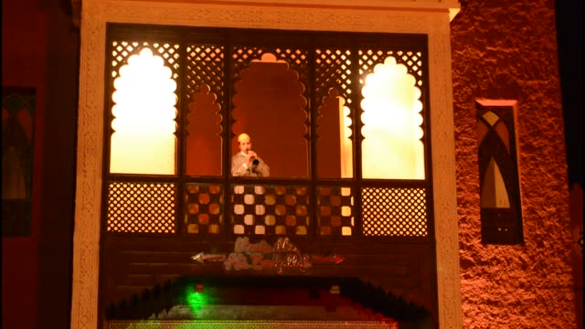 marrakech morocco chez ali famous attraction with moroccan show - balcony stock videos & royalty-free footage