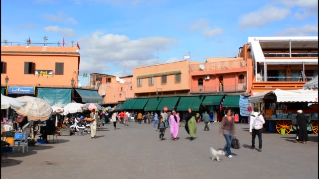 Marrakech Morocco main medina Djemaa El-Fna founded in 1070 with shops and restaurants of downtown city