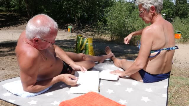married couple enjoys the beautiful weather and reads a book at müggelsee lake on june 24, 2019 near berlin, germany. germany is expecting a heat... - seeufer stock-videos und b-roll-filmmaterial