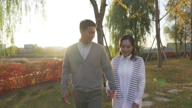vídeos de stock, filmes e b-roll de a married couple taking a walk in the park - de braços dados