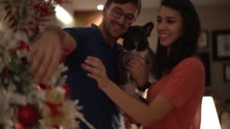 Married Couple with Dog Celebrating Christmas Time at Home