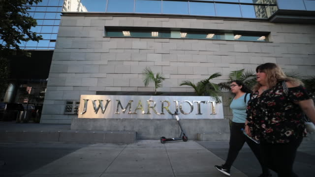 marriott international inc hotels in downtown los angeles hollywood and beverly hills california united states on wednesday july 31 2019 - 建物の正面点の映像素材/bロール