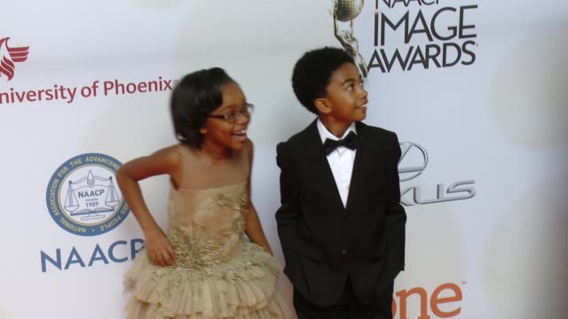 Marsai Martin and Miles Brown at the 46th Annual NAACP Image Awards Arrivals at Pasadena Civic Auditorium on February 06 2015 in Pasadena California