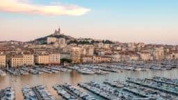 Marseille city skyline Vieux Port day to night timelapse, Marseille, France 4K Time lapse