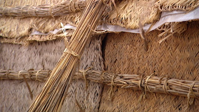 marsh arab mudhif or guesthouse. the pattern and structure of the berdi reed bundles used to create a mudhif, a marsh arab guesthouse. - reed grass family stock videos & royalty-free footage