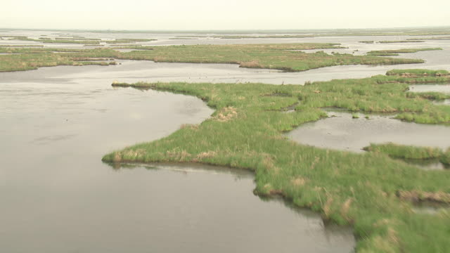 marsh islands cover much of a mississippi river delta area. - river mississippi stock videos & royalty-free footage