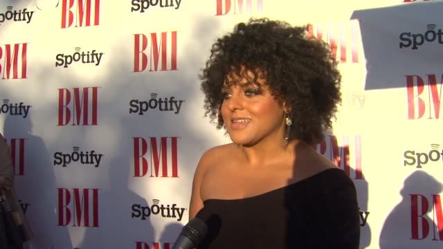 marsha ambrosius on the event, music, mariah carey, work she's proud of, what it takes to be a songwriter at bmi urban awards 2012 on 9/7/2012 in... - songwriter stock videos & royalty-free footage