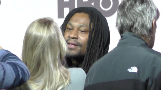 marshawn lynch outside the westworld season 3 premiere at tcl chinese theatre in hollywood in celebrity sightings in los angeles - mann theaters stock videos & royalty-free footage