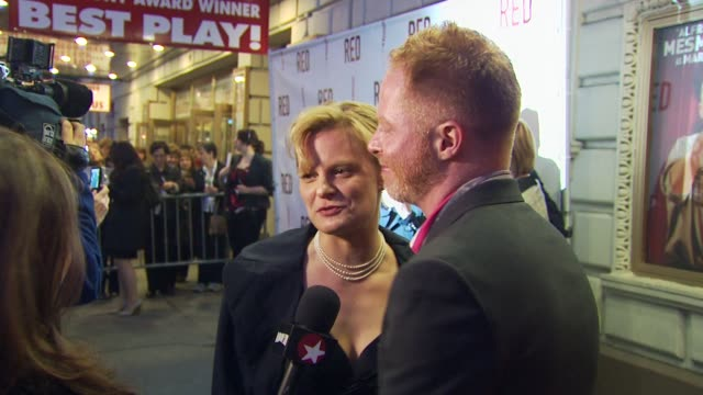 martha plimpton and jesse tyler ferguson at the 'red' broadway opening night arrivals at new york ny - jesse tyler ferguson stock videos and b-roll footage