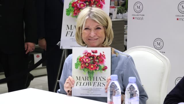 "martha stewart at martha stewart signs copies of her new book ""martha's flowers"" at macys herald square on april 05, 2018 in new york city. - martha stewart stock videos & royalty-free footage"