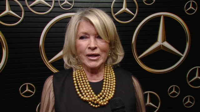 martha stewart on the party, on who she's excited to see win and her favorites films, on brad pitt winning and on mercedes at mercedes-benz annual... - martha stewart stock videos & royalty-free footage
