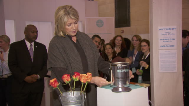 martha stewart shows how to keep paint from splattering at martha stewart transforms grand central terminal into multimedia celebration of american... - martha stewart stock videos & royalty-free footage