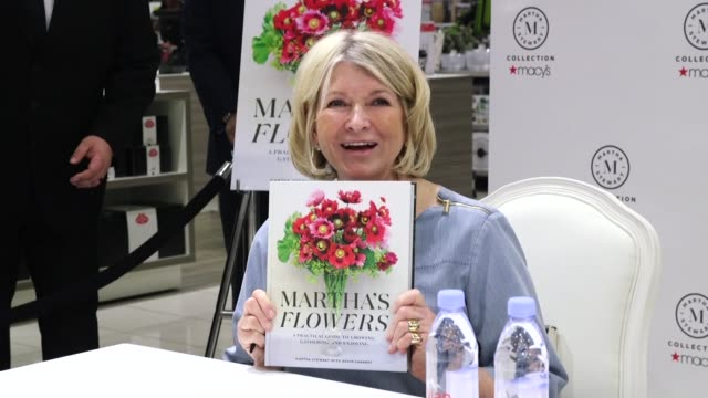 "martha stewart signs copies of her new book ""martha's flowers"" at macys herald square on april 05, 2018 in new york city. - martha stewart stock videos & royalty-free footage"