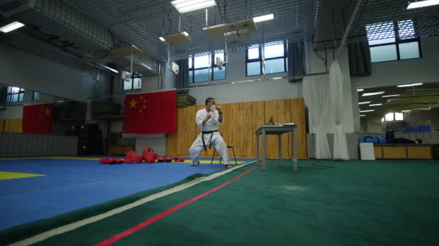 martial artist practicing karate in a dojo - mat stock videos & royalty-free footage