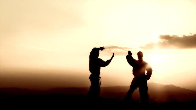 hd クレーン:武術の夕暮れ - カンフー点の映像素材/bロール