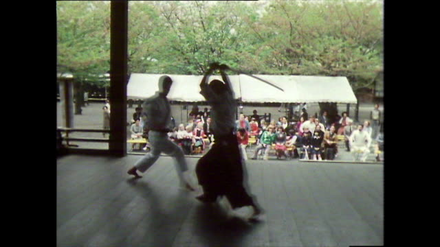 martial arts demonstration in japanese shrine; 1981 - shinto shrine stock videos & royalty-free footage