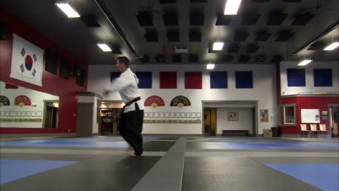 ws martial arts instructor performing taekwondo / springville, utah, usa - springville utah stock videos & royalty-free footage