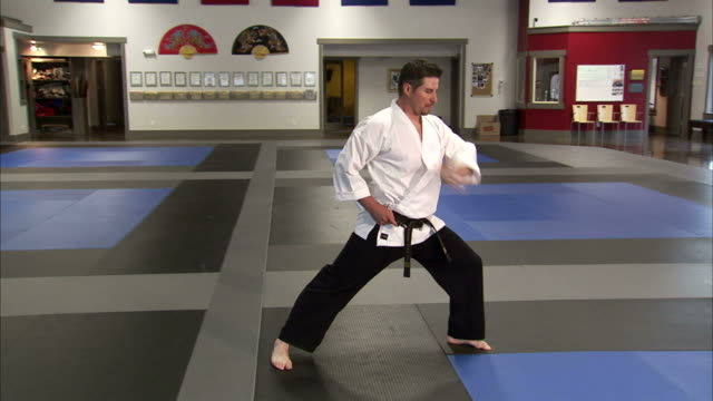 vidéos et rushes de ws martial arts instructor performing taekwondo, using sai / springville, utah, usa - springville utah