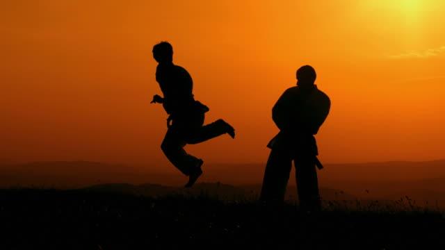 hd slow-motion crane: martial arts - taekwondo stock videos & royalty-free footage