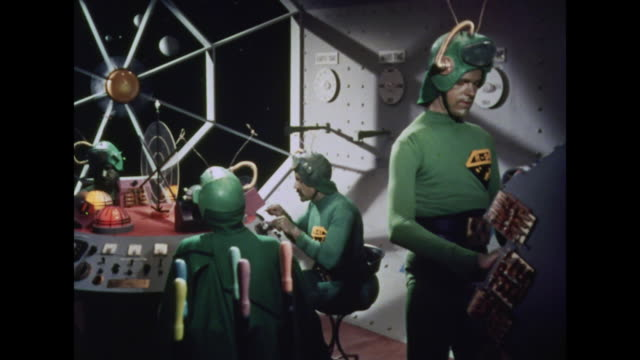 1964 martians prepare their spaceship for landing on earth - science fiction film stock videos & royalty-free footage