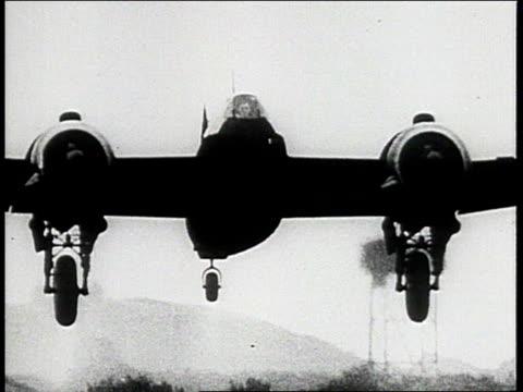Martin B26 Marauder in flight / Boeing B17 Flying Fortresses flying in formation