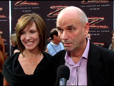 martin campbell on what makes him want to direct a movie at the 'the legend of zorro' premiere at the orpheum theatre in los angeles, california on... - orpheum theatre stock videos & royalty-free footage