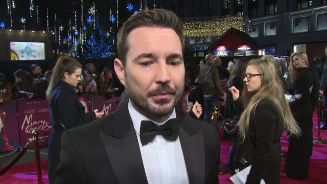 martin compston on josie rourke, fellow cast and the feminine storyline at cineworld leicester square on december 10, 2018 in london, england. - leicester square stock videos & royalty-free footage