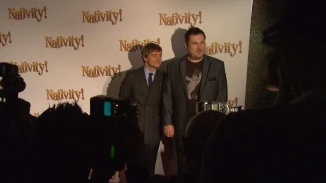 martin freeman and marc wootton at the nativity london premiere at london england - martin freeman stock videos and b-roll footage
