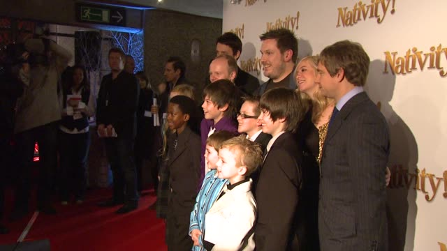 martin freeman jason watkins marc wootton and debbie isitt at the nativity london premiere at london england - martin freeman stock videos and b-roll footage