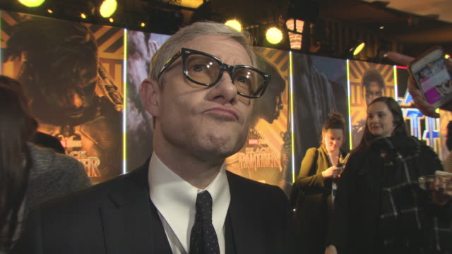 vídeos y material grabado en eventos de stock de interview martin freeman on his character being part of the film at 'black panther' european premiere at eventim apollo on february 8 2018 in london... - martin freeman
