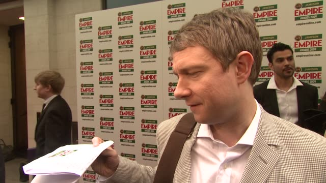 vídeos y material grabado en eventos de stock de martin freeman on his guesses for the nights winners and how he would have chosen the winners at the jameson empire awards 2009 at london - martin freeman