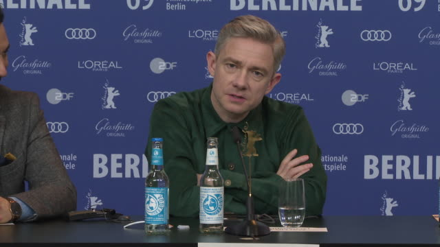 interview martin freeman on not having to prepare to much for the role and how he's fortunate to do so many roles that he likes at 'the operative'... - martin freeman stock videos and b-roll footage