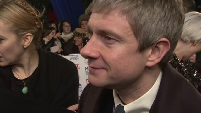 interview martin freeman on wanting to win and taking a break from the hobbit national tv awards 2013 at 02 arena on january 23 2013 in london england - martin freeman stock videos and b-roll footage