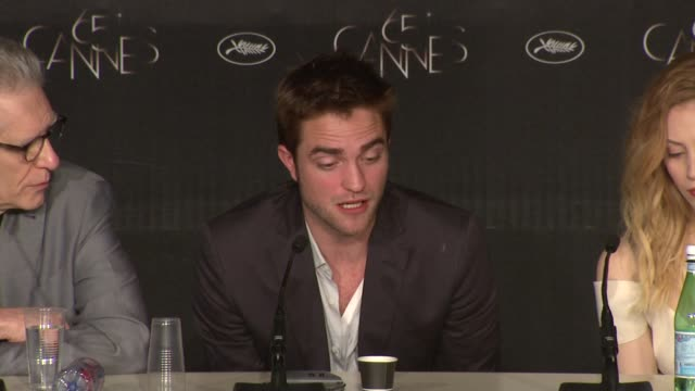 Martin Katz Robert Pattinson on the story and the meaning at Cosmopolis Press Conference 65th Cannes Film Festival on May 25 2012 in Cannes France