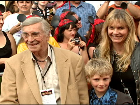 martin landau and family at the walt disney pictures' 'pirates of the caribbean: dead man's chest' world premiere at walt disneyland resort in... - the family man film title stock videos & royalty-free footage