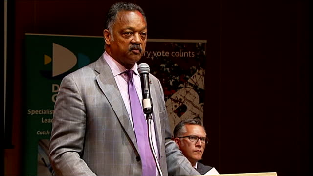 stockvideo's en b-roll-footage met martin luther king i have a dream speech 50th anniversary jesse jackson visits school in deptford ***beware various shots jesse jackson speaking at... - harder