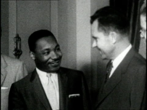 martin luther king jr and vice president richard nixon shake hands - martin luther religious leader stock videos & royalty-free footage