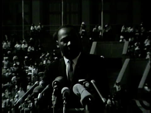 wgn martin luther king jr at 1964 rally talks about jfk's stance on civil rights and his assassination at the illinois i have a dream civil rights... - martin luther king stock videos and b-roll footage