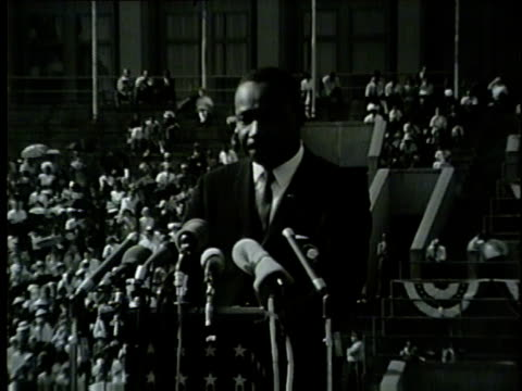 wgn martin luther king jr encourages people to vote during speech at at the illinois i have a dream civil rights rally at soldier field on june 21... - martin luther king stock videos and b-roll footage