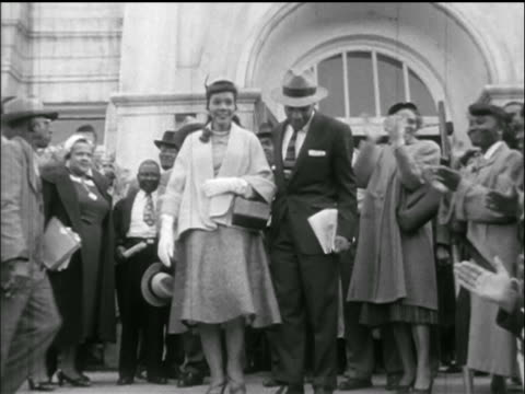 martin luther king jr wife supporters descending stairs outside jail / montgomery al - martin luther king stock videos and b-roll footage