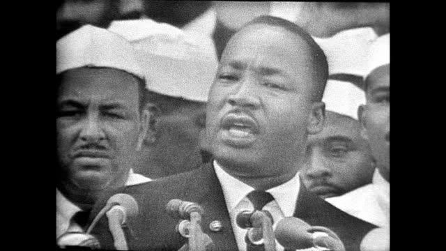 vídeos de stock e filmes b-roll de martin luther king making his i have a dream speech during the civil rights march on washington / audio i have a dream that one day this nation will... - 1963