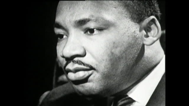 "martin luther king on his experience of police protection, their diligence and care towards himself and how it varies between states; 1961. ""well, in... - black civil rights stock videos & royalty-free footage"