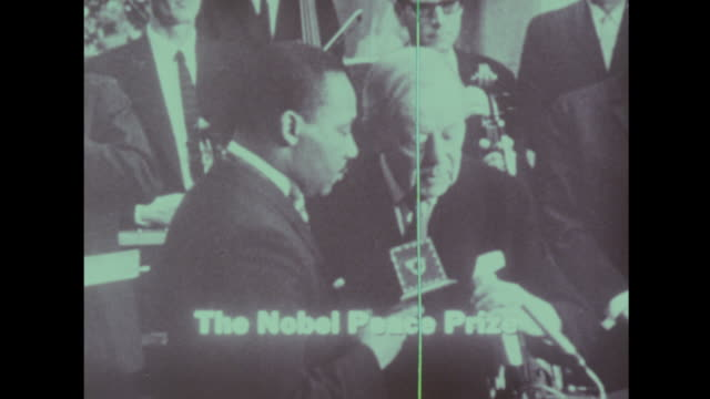 vídeos de stock e filmes b-roll de martin luther king receives the nobel peace prize on december 10th 1964 university of oslo - 1964