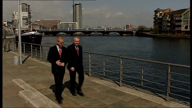 martin mcguinness along with reporter martin mcguinness interview sot in the grand scheme of things i do believe that the progress we have made in... - itv news at ten stock videos & royalty-free footage