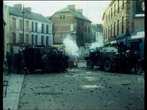 martin mcguinness appears at bloody sunday enquiry itn british soldiers firing during bloody sunday priest edward daly along holding out white... - 1972 stock videos & royalty-free footage