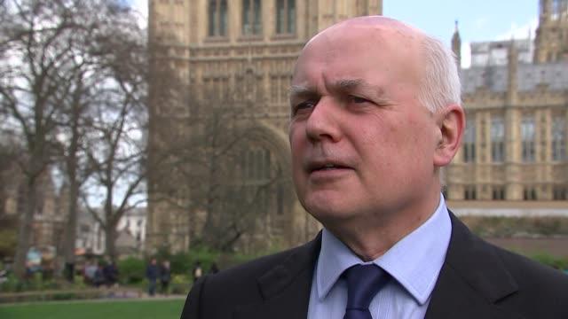 Iain DuncanSmith interview ENGLAND London Westminster EXT Iain Duncan Smith MP interview SOT