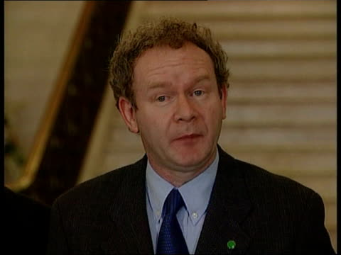 martin mcguinness mp downstairs tilt down clock martin mcguinness mp speaking to press sot - mandelson should pull back from the disasterous course... - ulster province stock videos & royalty-free footage