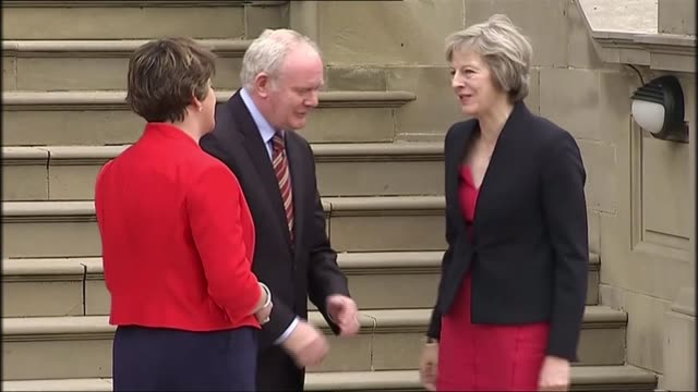 martin mcguinness resignation likely to result in a snap election in northern ireland; lib / 25.07.16 stormont: parliament buildings: ext theresa may... - quitting a job stock videos & royalty-free footage